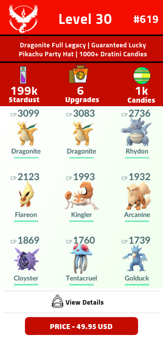#619 Level 30 | DRAGONITE FULL LEGACY | 1000+ Dratini Candies | Pikachu Party Hat | 199k+ Stardust