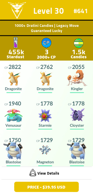 #641 Level 30 | 1000+ Dratini Candies | Guaranteed Lucky | Charizard Legacy Move | 450k+ Stardust