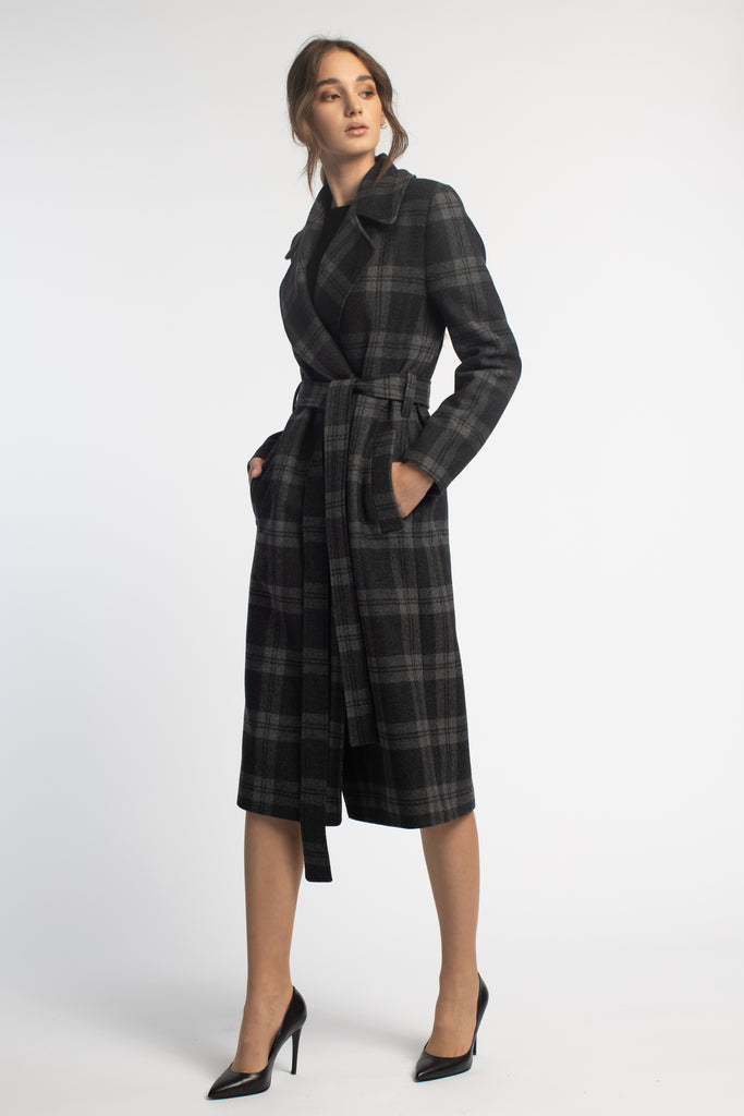 Fitted Grey Plaid Coat With Belt