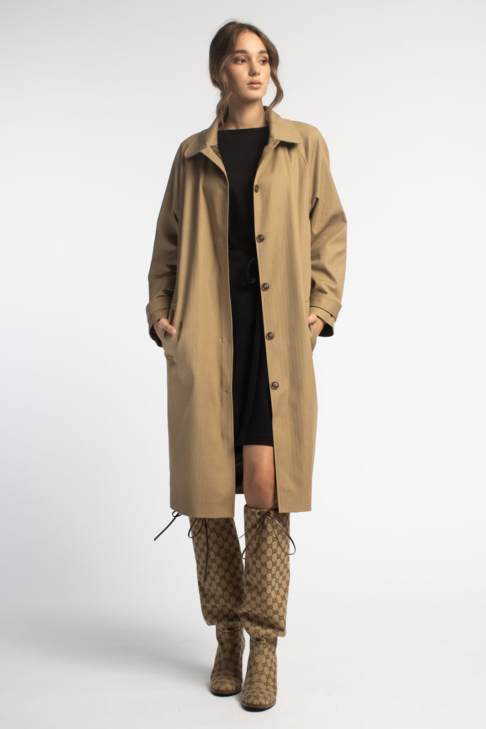 Beige Oversized Trench Coat With Belt