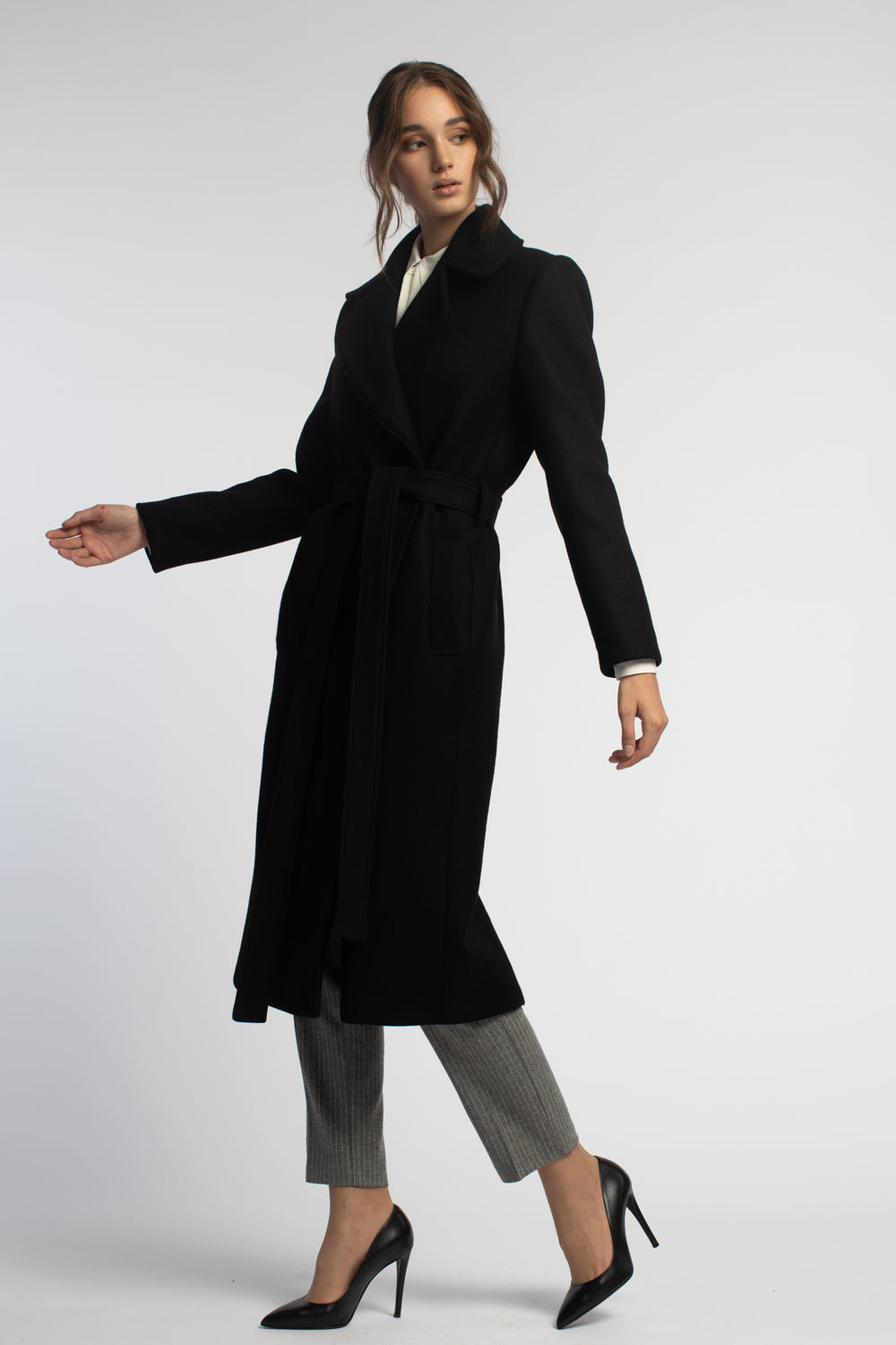 Fitted Black Coat With Belt