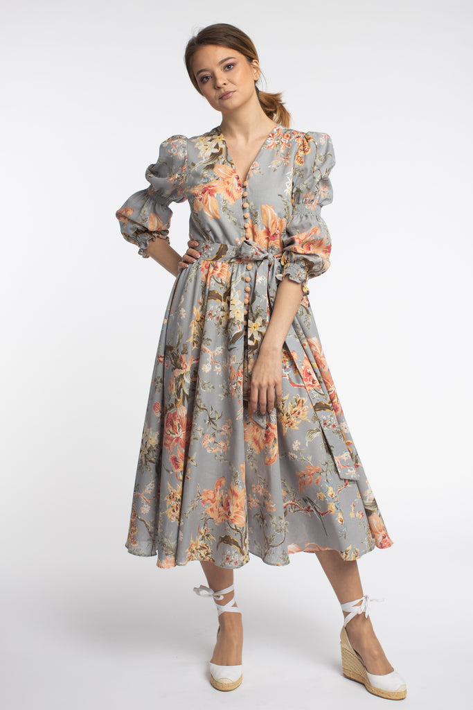 Meili Floral Midi Linen Dress With Belt And Puffed Sleeves