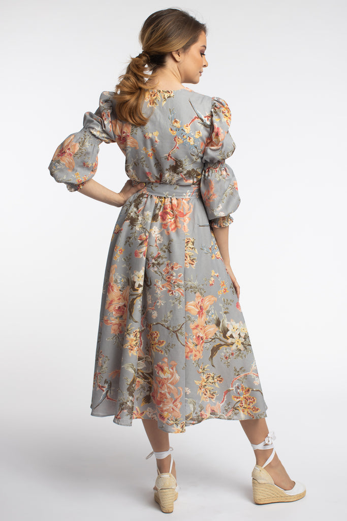 Meilí Floral Midi Linen Dress With Belt And Puffed Sleeves