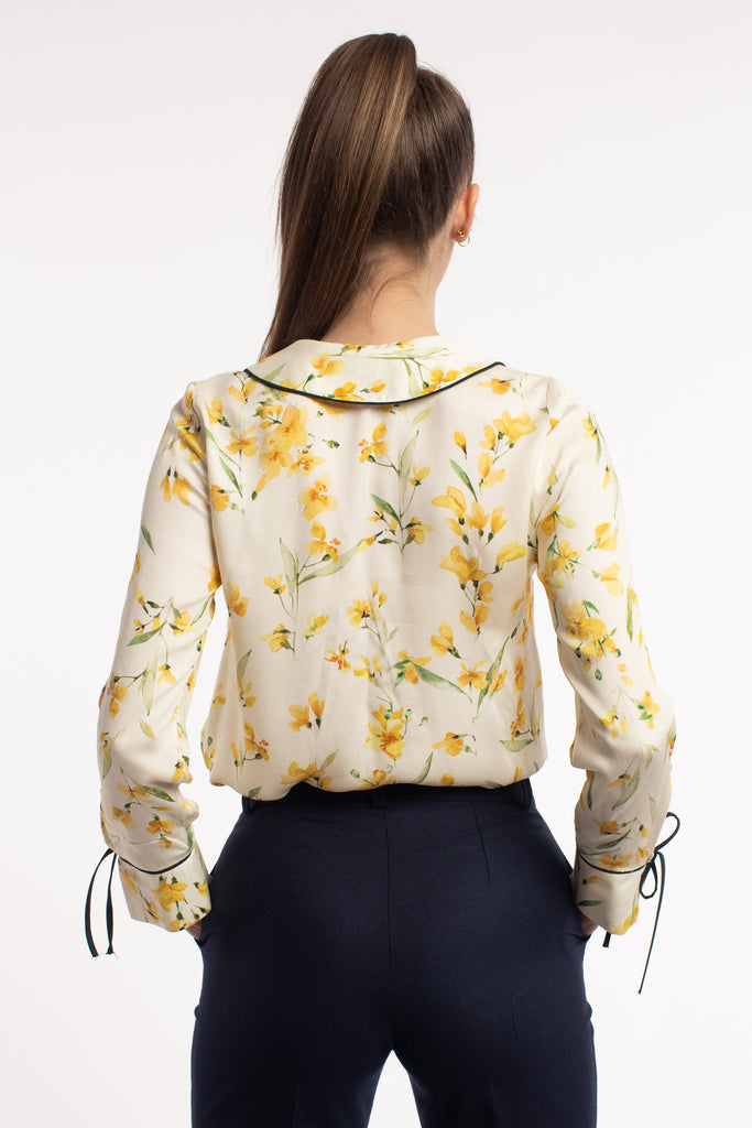 Floral Print Viscose Blouse With Round Collar