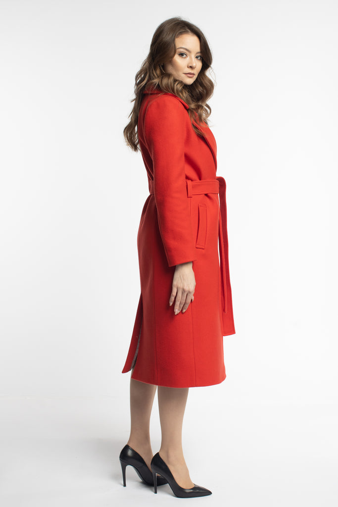 Fitted Red Coat With Belt