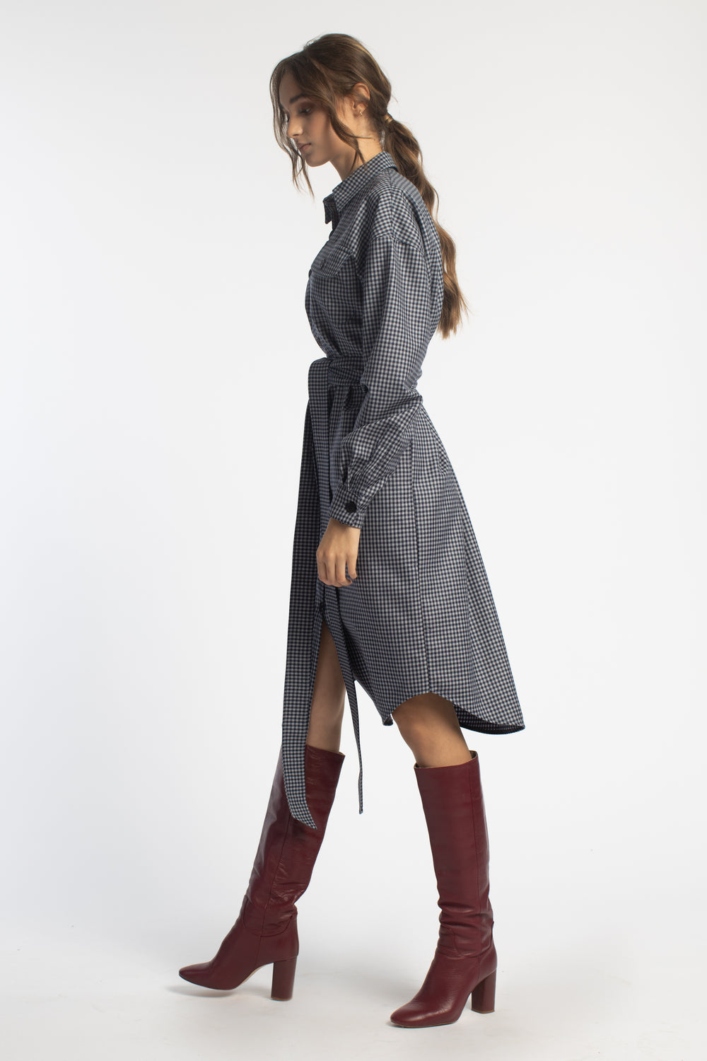 Oversized Midi Shirt Dress With Belt