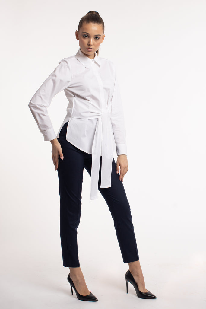 White Cotton Shirt With Belt