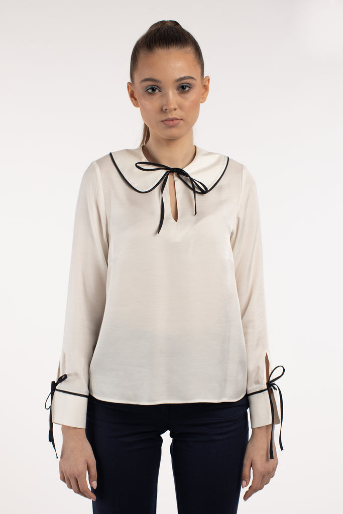 Ivory Viscose Blouse With Round Collar