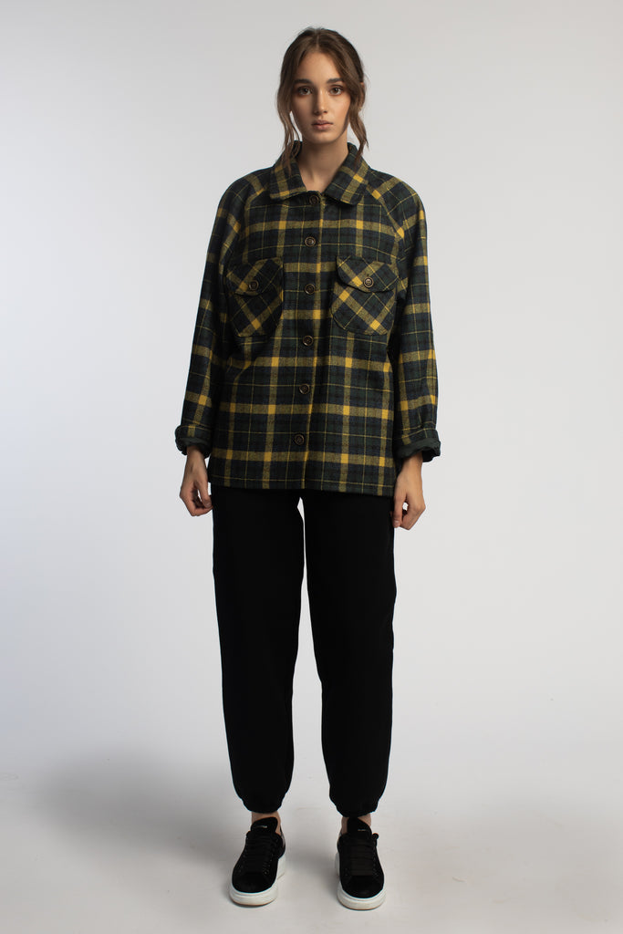 Green Plaid Oversized Wool Jacket