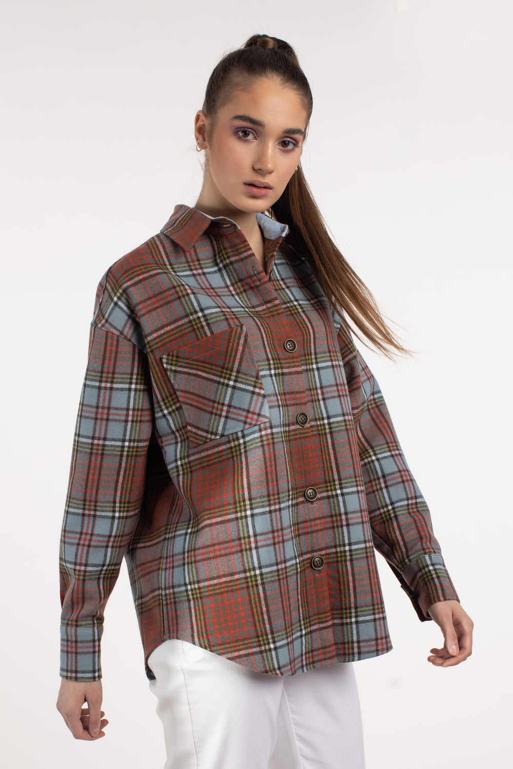Oversized Wool Checked Shirt