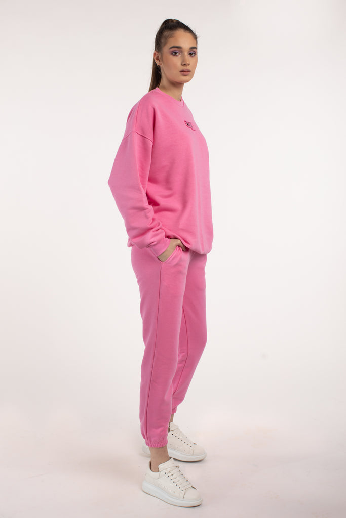 Pink Oversized Sweatshirt With Embroidered Logo