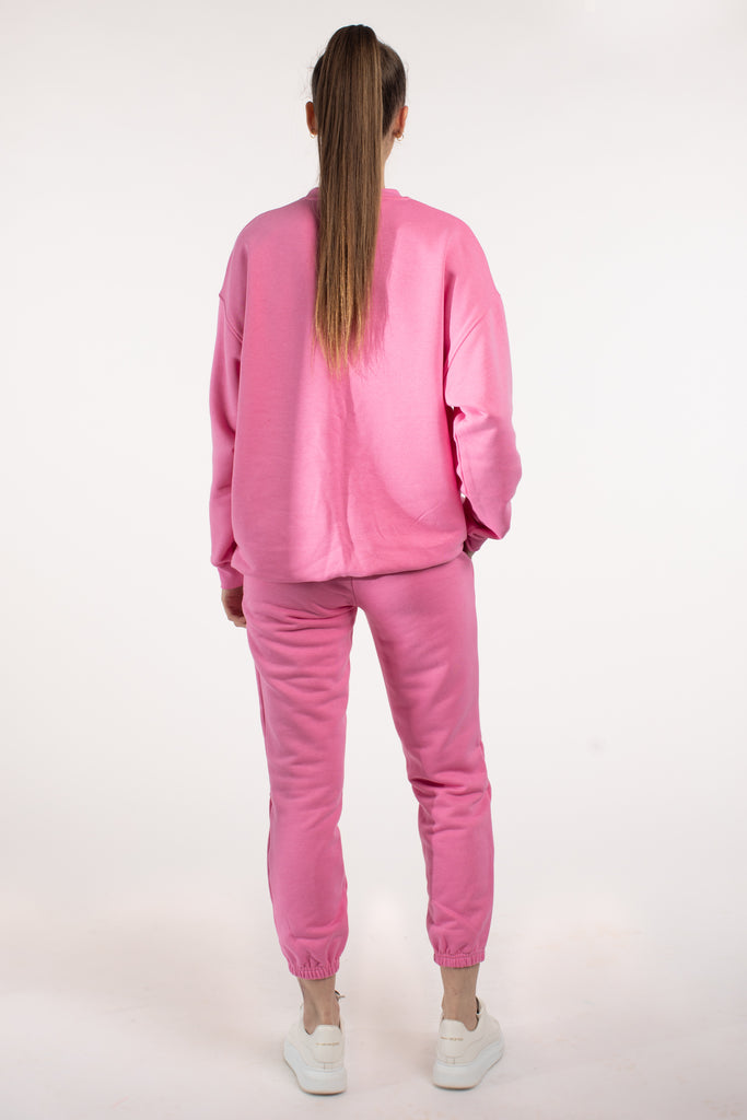 Pink Oversized Cotton Joggers