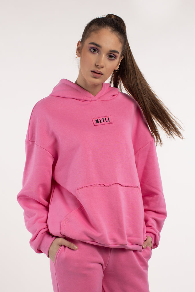 Pink Oversized Hoodie With Embroidered Logo