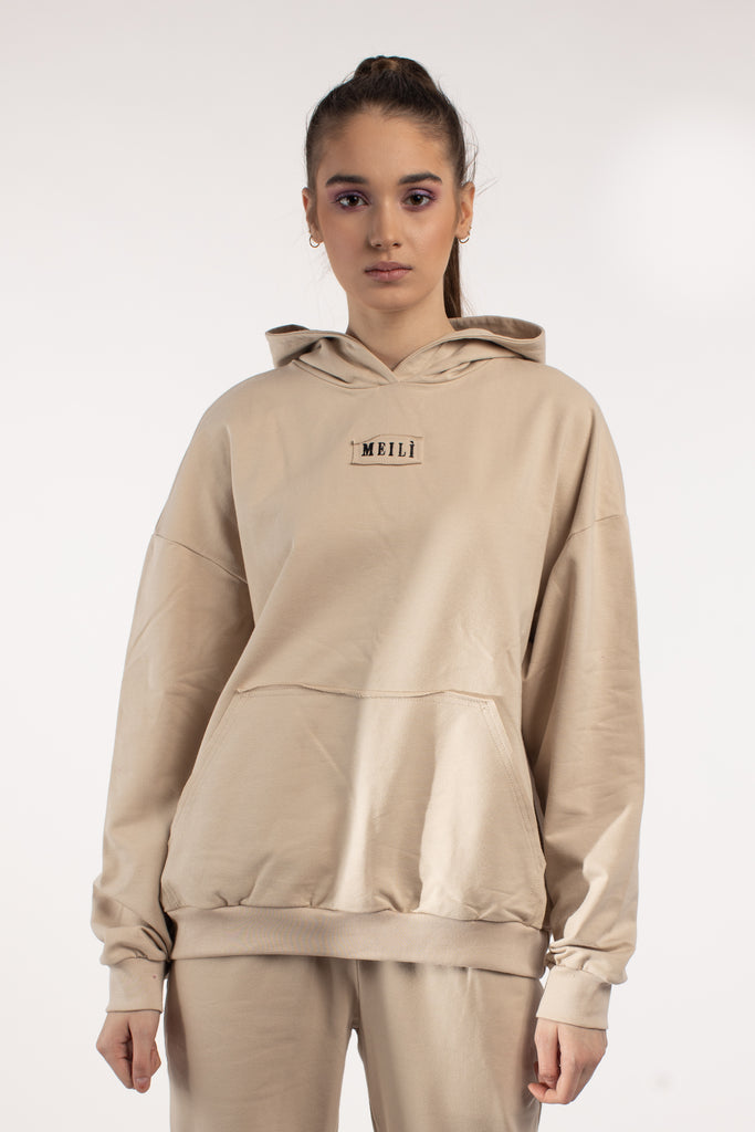 Cream Oversized Hoodie With Embroidered Logo