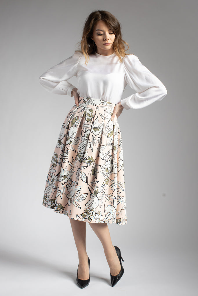 Floral Midi Pleated Skirt