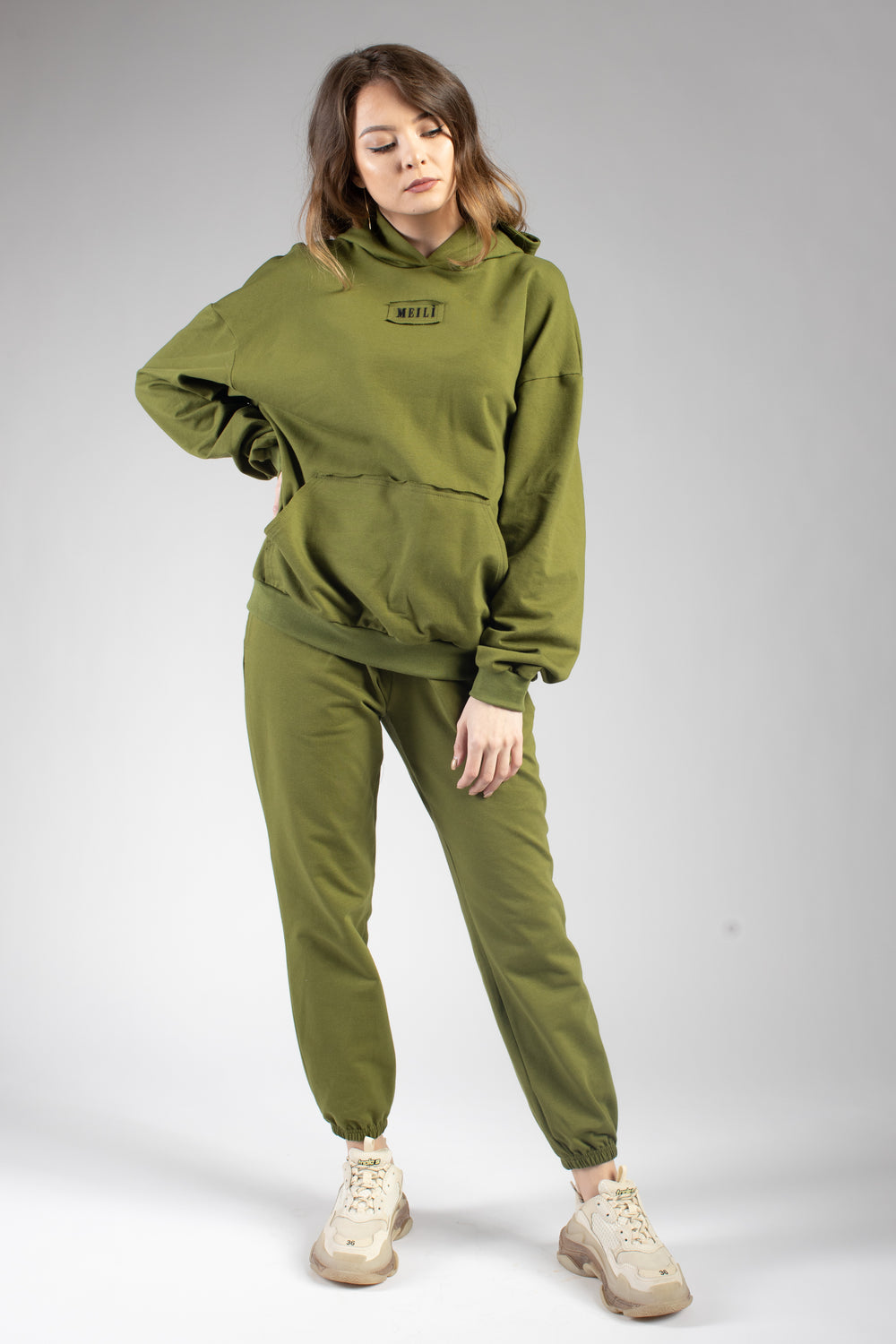 Green Oversized Cotton Joggers