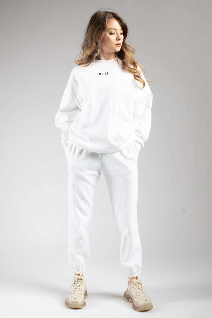 White Oversized Cotton Joggers
