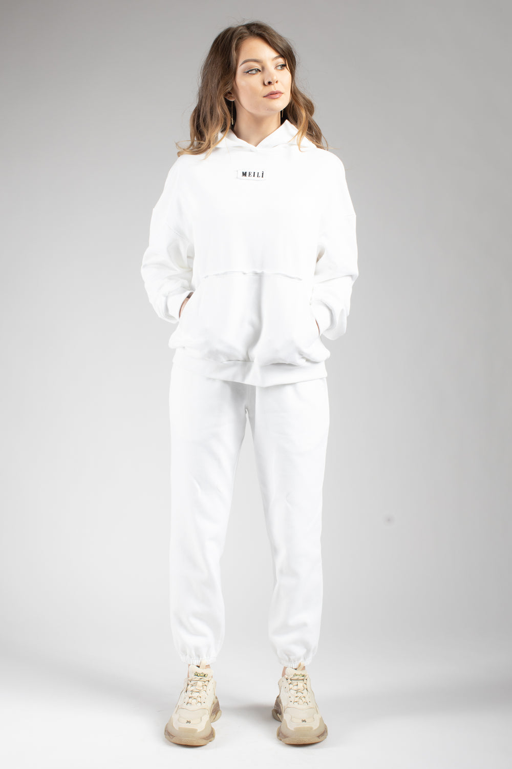 White Oversized Hoodie With Embroidered Logo