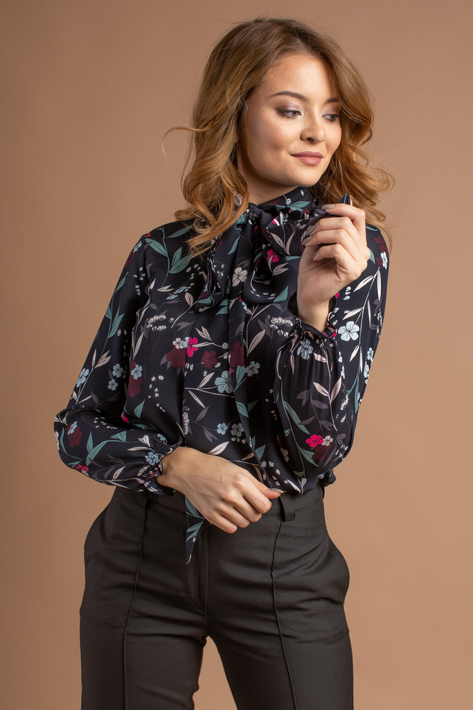 Floral Blouse With Scarf Collar