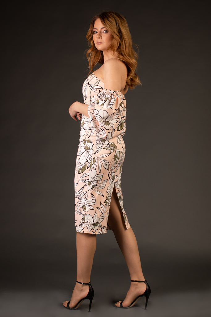 Meilí Pink Floral Evening Dress