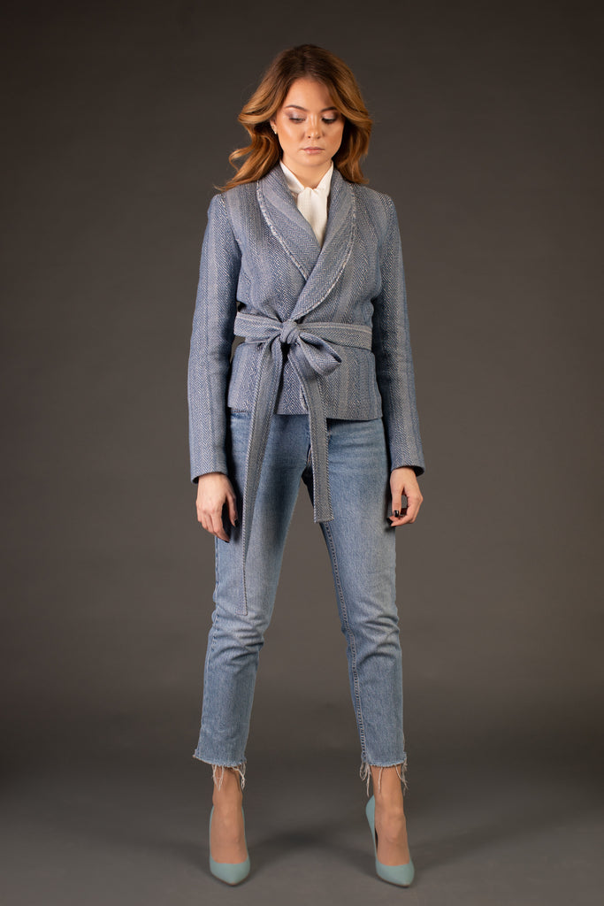 Meilí Blue Belted Jacket With Long Sleeves