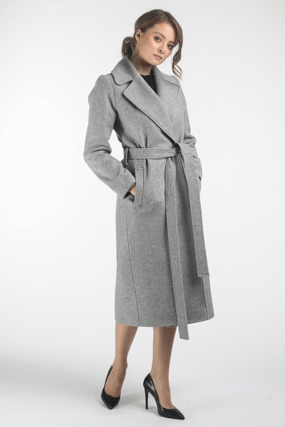Fitted Light Grey Coat With Belt