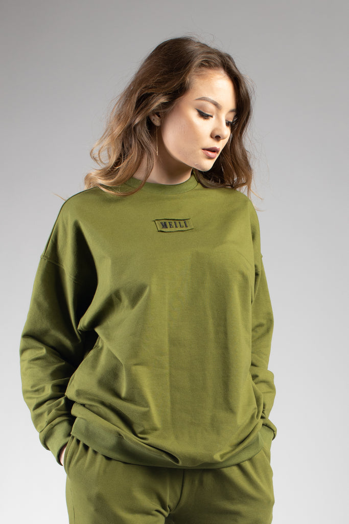 Green Oversized Sweatshirt With Embroidered Logo