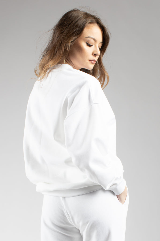 White Oversized Sweatshirt With Embroidered Logo
