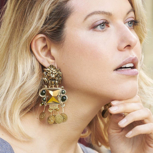 gold lion head statement silk thread earrings green jade -  BABYLON