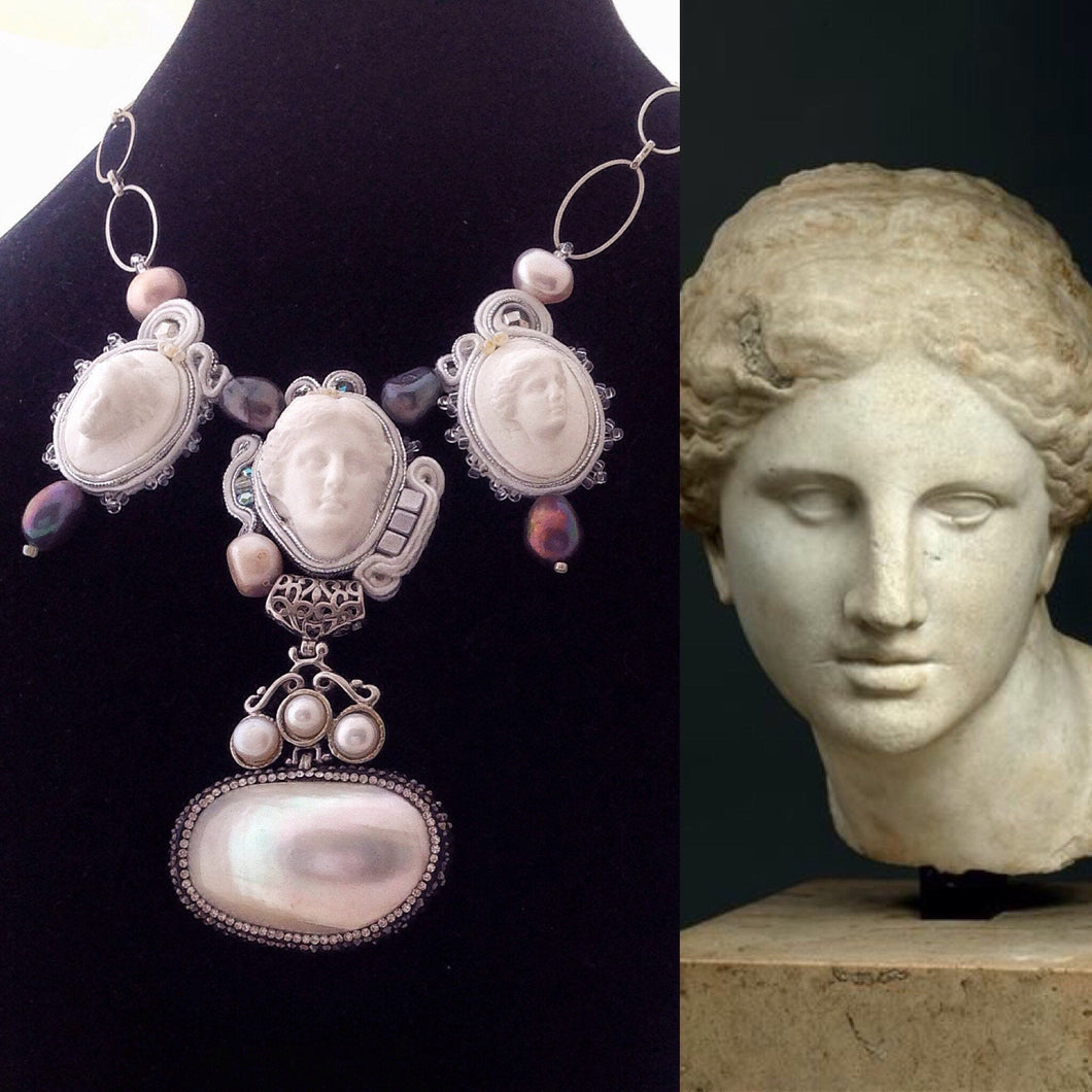Aphrodite high fashion statement cameo necklace - Beads Of Aquarius