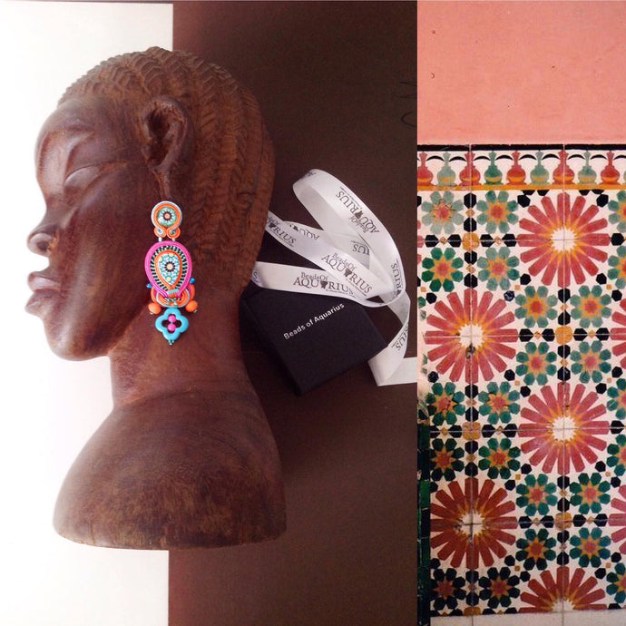 Portuguese Arab tile statement handmade boho earrings - PORTO - Beads Of Aquarius