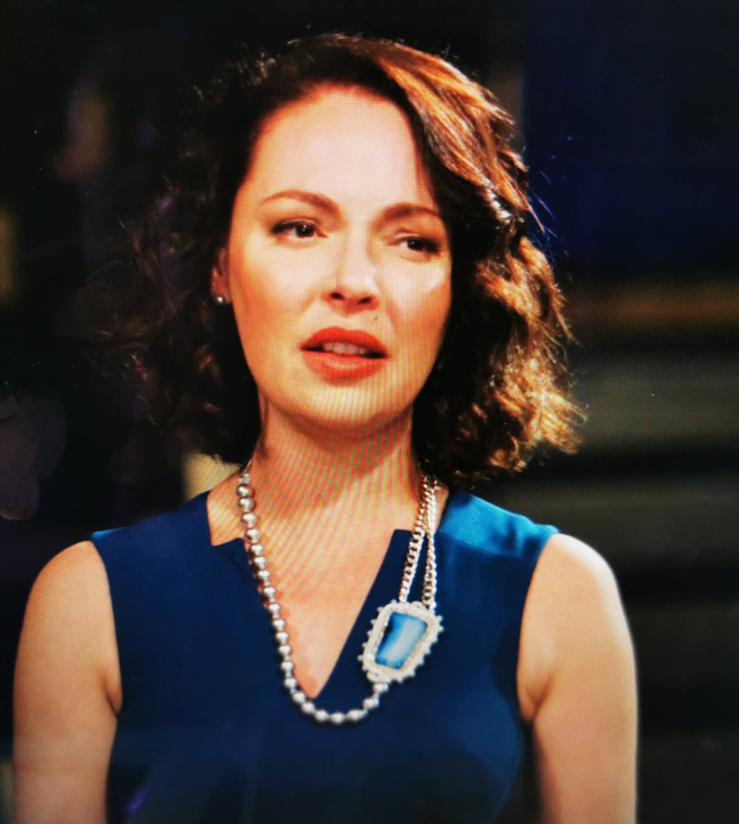 As seen on Firefly Lane Katherine Heigl , Blue Agate & Swarovski pearls statement necklace