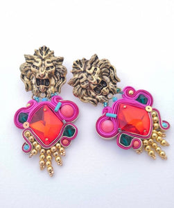 lion head colorful statement earrings