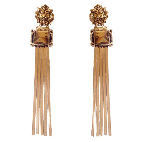 Gold leather tassel earrings with Gold lion head