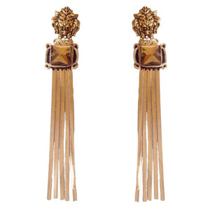 Gold leather tassel earrings with Gold lion head - Beads Of Aquarius