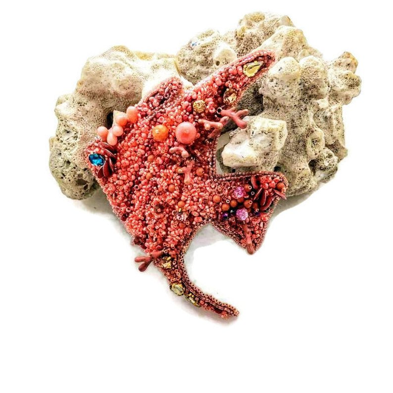 Extra large embroidered coral fish statement broach pin - Beads Of Aquarius