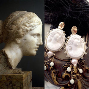 Greek Roman inspired Cameo earrings - Beads Of Aquarius