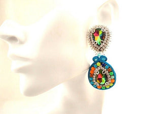 statement bib elegant colorful crystal dangle drop bead embroidered earrings - Beads Of Aquarius