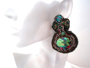 statement bead embroidered jean paul gaultier swarovski crystals earrings - Beads Of Aquarius