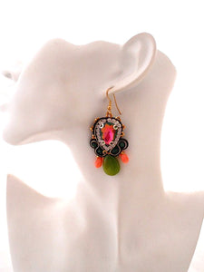 dangle jade coral chandelier earrings - Beads Of Aquarius