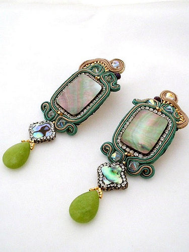 green emerald jade & abalone shell dangle drop statement earrings