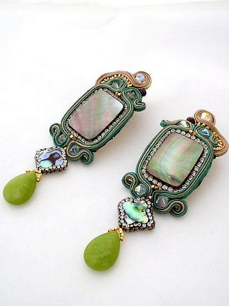 green emerald jade & abalone shell dangle drop statement earrings - Beads Of Aquarius