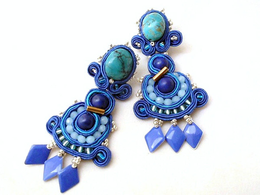 turquoise long soutache studs statement earrings - beads-of-aquarius