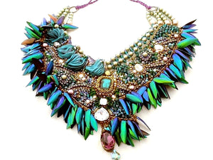 haute couture bronze emerald statement beetle wings necklace - beads-of-aquarius