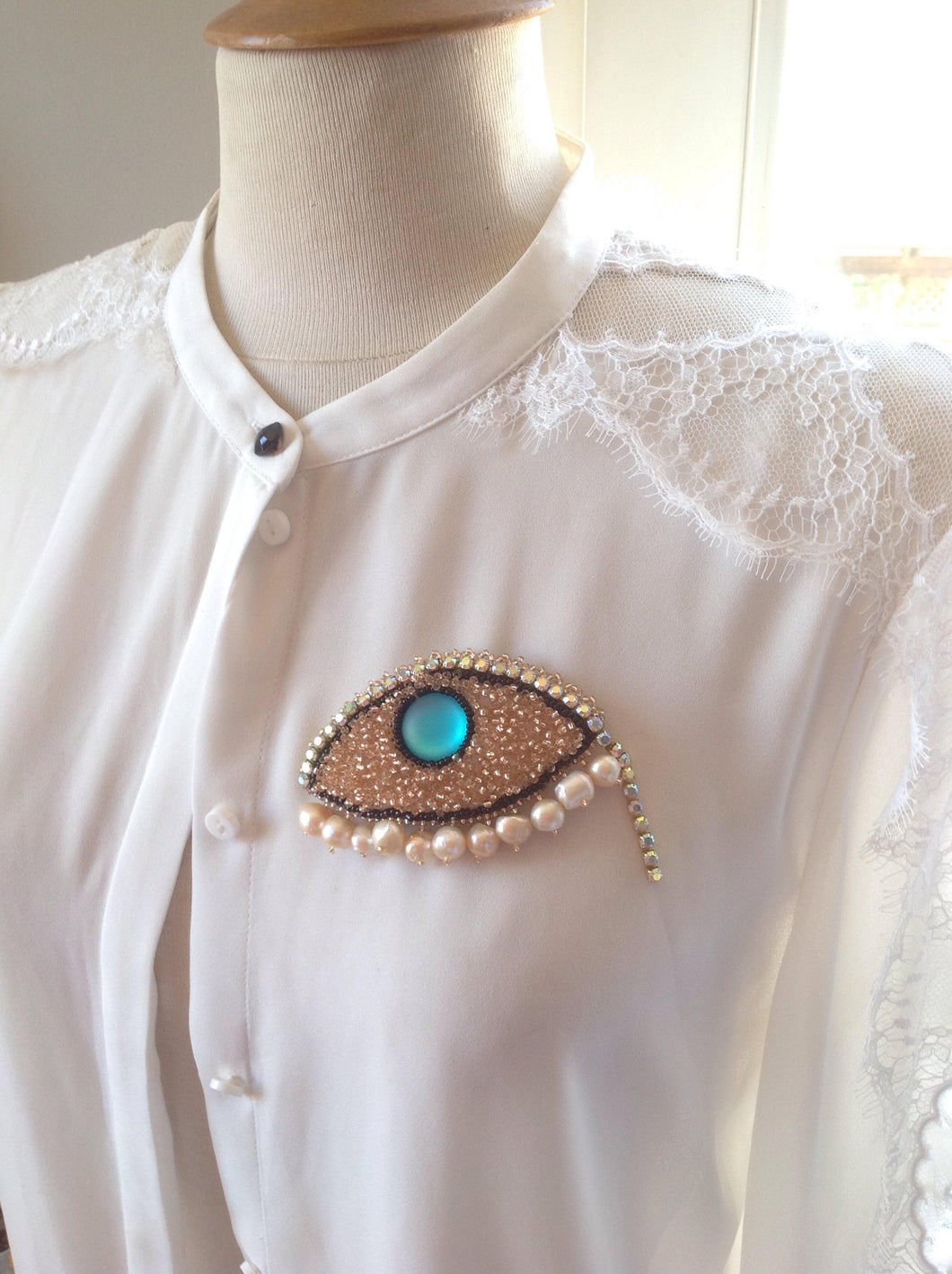 evil eye fresh water pearls bead embroidred brooch pin - Beads Of Aquarius