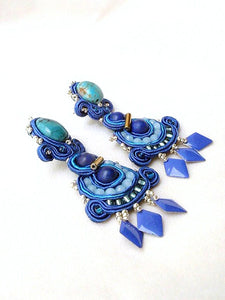 BeadsOfAquarius jewelry art ; statement earrings wedding turquoise clip on