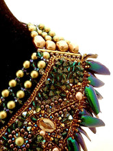 haute couture bronze emerald statement beetle wings necklace - Beads Of Aquarius