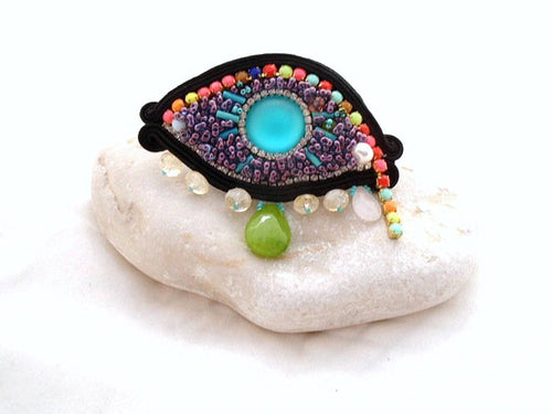 oversized Evil eye statement jade turquoise boho cocktail ring , luck - Beads Of Aquarius