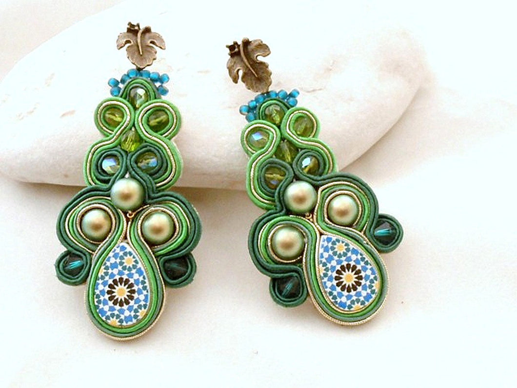 statement green emerald earrings - beads-of-aquarius