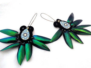 Elytra beetle wings dangle drop earrings - Beads Of Aquarius